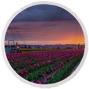 Round Beach Towel featuring the photograph Tractor Waits For Morning by Mike Reid