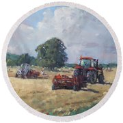 Tractors In The Farm Georgetown Round Beach Towel by Ylli Haruni