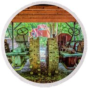 Round Beach Towel featuring the photograph Tractors Side By Side by Debra and Dave Vanderlaan