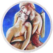 Round Beach Towel featuring the painting Apollo And Hyacinth Tradgedy Of Love  by Rene Capone