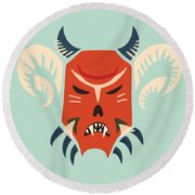 Traditional Bulgarian Evil Monster Kuker Mask Round Beach Towel