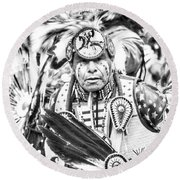Traditional Dancer  Round Beach Towel by Clarice Lakota