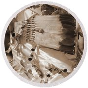 Round Beach Towel featuring the photograph Traditional Dancer In Sepia by Heidi Hermes