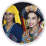 Round Beach Towel featuring the photograph Traditional Dressed Thai Ladies by Heiko Koehrer-Wagner