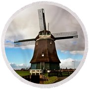 Traditional Dutch Windmill Near Volendam  Round Beach Towel