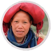 Traditional Fashion Of A Red Dzao Woman Round Beach Towel