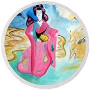 Traditional Geisha Round Beach Towel