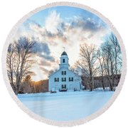 Round Beach Towel featuring the photograph Traditional New England White Church Etna New Hampshire by Edward Fielding