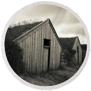 Round Beach Towel featuring the photograph Traditional Turf Or Sod Barns Iceland by Edward Fielding