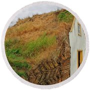 Traditional Turf Houses In Iceland Round Beach Towel