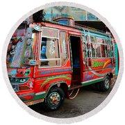 Traditionally Decorated Pakistani Bus Art Karachi Pakistan Round Beach Towel