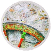 Round Beach Towel featuring the photograph Traditional Sicilian Cart Wheel Detail by Silvia Ganora