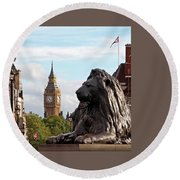 Trafalgar Square Lion With Big Ben Round Beach Towel by Gill Billington