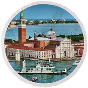 Traffic Around The Venetian Church Round Beach Towel
