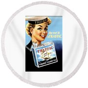 Traffic Cigarette Round Beach Towel