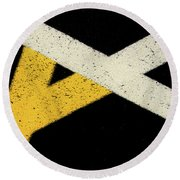 Round Beach Towel featuring the photograph Traffic Line Conversion 2 by Gary Slawsky