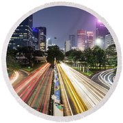 Traffic Night Rush In Jakarta, Indonesia Capital City.  Round Beach Towel