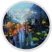 Round Beach Towel featuring the painting Traffic Seen Through A Rainy Windshield by Dan Haraga
