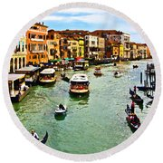 Traghetto, Vaporetto, Gondola  Round Beach Towel by Tom Cameron