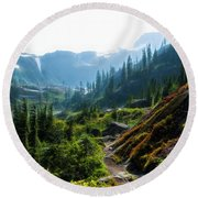 Trail In Mountains Round Beach Towel