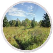 Trail In September Meadow Round Beach Towel