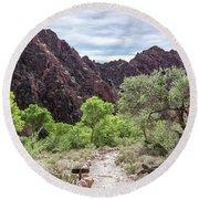 Trail Into Phantom Ranch, Grand Canyon Round Beach Towel