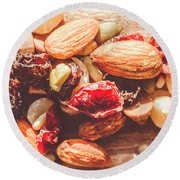 Trail Mix High-energy Snack Food Background Round Beach Towel
