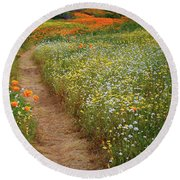 Round Beach Towel featuring the photograph Trail Of Wildflowers At Diamond Lake In California by Jetson Nguyen