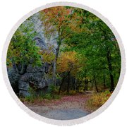 Trail Past Indian Face Rock Round Beach Towel by Barbara Bowen