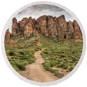 Trail To Cliffs Round Beach Towel by Greg Nyquist