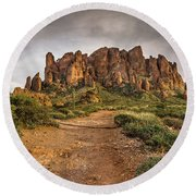 Trail To Superstitions 2 Round Beach Towel by Greg Nyquist