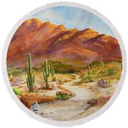 Trail To The San Tans Round Beach Towel