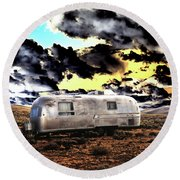 Round Beach Towel featuring the photograph Trailer by Jim and Emily Bush