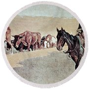 Trailing Texas Longhorns Round Beach Towel by Frederic Remington