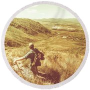 Trails And Footholds Of Rugged Tasmania Round Beach Towel