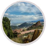 Trails At Red Rocks Round Beach Towel