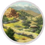Trails Of Vasquez Canyon Round Beach Towel