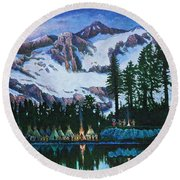 Round Beach Towel featuring the painting Trails West II by Michael Frank