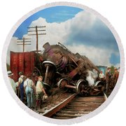 Round Beach Towel featuring the photograph Train - Accident - Butting Heads 1922 by Mike Savad