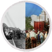 Round Beach Towel featuring the photograph Train - Accident - Butting Heads 1922 - Side By Side by Mike Savad