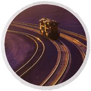 Train At Sunset Round Beach Towel by Garry Gay