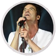 Train's Pat Monahan Round Beach Towel by Cindy Manero