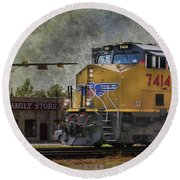Train Coming Through Round Beach Towel