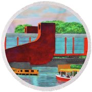 Train Over The New River Round Beach Towel