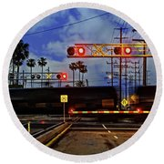 Round Beach Towel featuring the photograph Train Crossing by Timothy Bulone