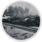 Train Derailment Round Beach Towel