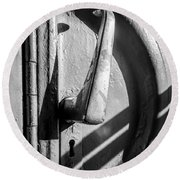 Round Beach Towel featuring the photograph Train Door Handle by John Williams