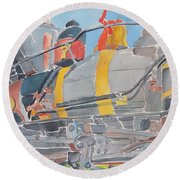 Train Engine Round Beach Towel by Rodger Ellingson
