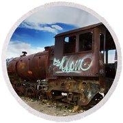 Train Graveyard Uyuni Bolivia 16 Round Beach Towel