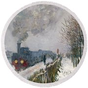 Train In The Snow Or The Locomotive Round Beach Towel by Claude Monet
